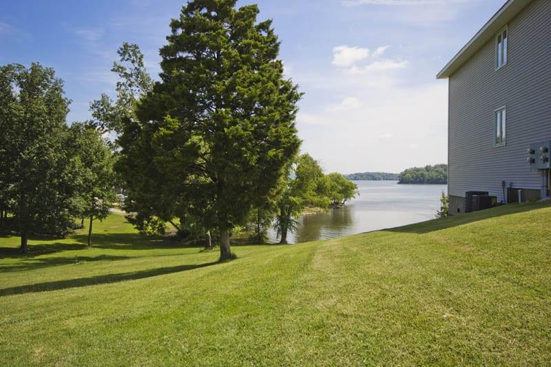 Condo yard and the lake.